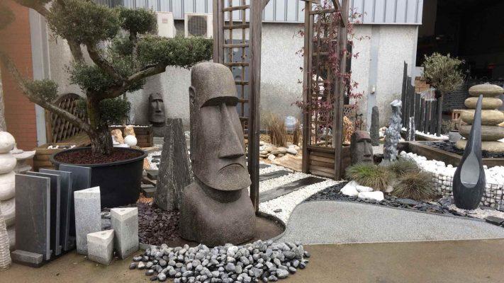 statue moaï décorative pierre naturelle